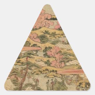 Japanische Landschaft Dreieckiger Aufkleber