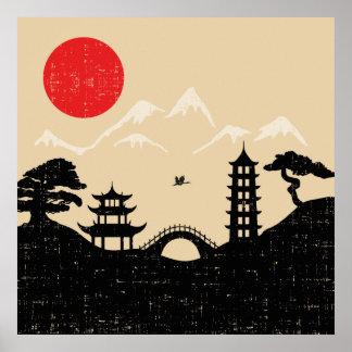 Japanische Landschaft - Schmutz-Art Poster