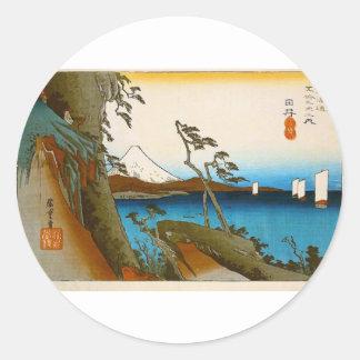 Japanische Landschaft Ukiyo-e Runder Aufkleber