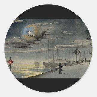 Japanische Malerei circa 1915 Runder Aufkleber