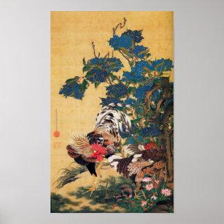 Japanische Malerei für Jahr des Hahns P 2017 Poster