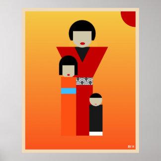 Japanische Mutter- und Kindergrafik Poster