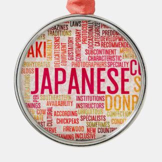 Japanische Nahrung und Küche-Menü-Hintergrund Silbernes Ornament