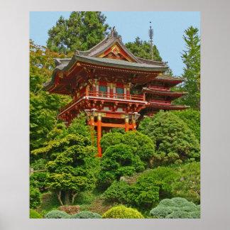 Japanische Pagoden-Fotomalerei Poster