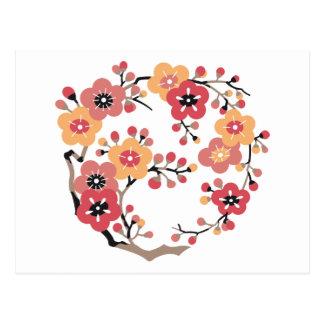 Japanische Pflaume blüht Kreis Postkarte