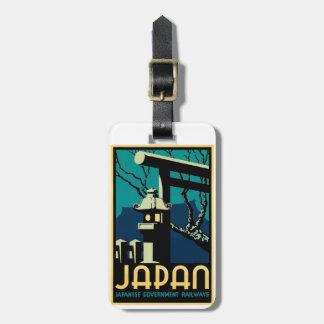 Japanische Regierungs-Eisenbahn-Vintage Weltreise Gepäckanhänger