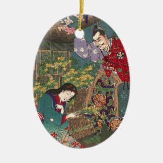 Japanische schöne Geisha-Samurai-Kunst Keramik Ornament