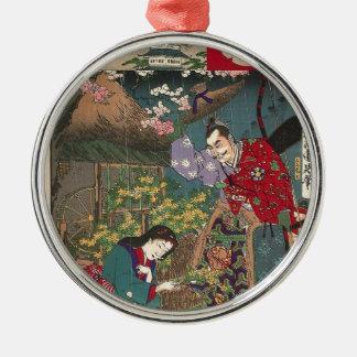 Japanische schöne Geisha-Samurai-Kunst Rundes Silberfarbenes Ornament