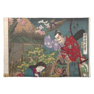 Japanische schöne Geisha-Samurai-Kunst Stofftischset