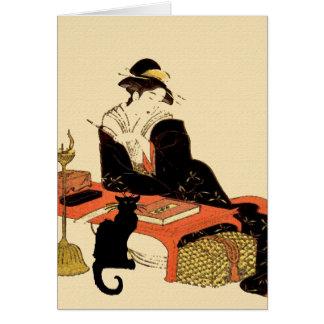 Japanische schwarze Katzen-Dame Karte