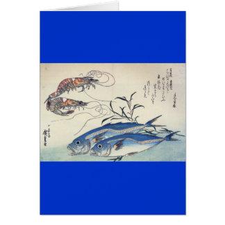 Japanische Seeleben-Malerei circa 1800's Karte