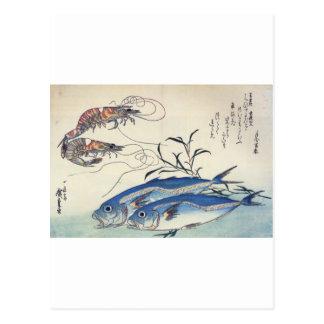 Japanische Seeleben-Malerei circa 1800's Postkarte