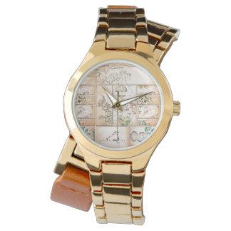 Japanische Tapisserie-asiatisches Collage tsuzure Armbanduhr