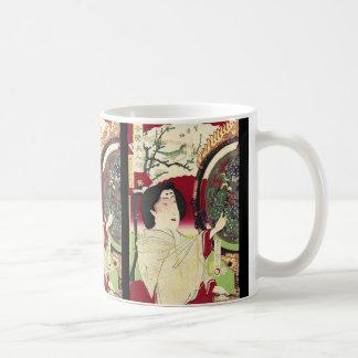 japanische ukiyo-e Kirschblüten-Kimono-Geisha Kaffeetasse