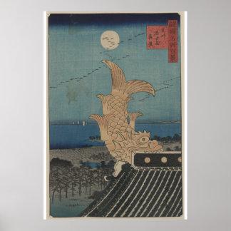 Japanische Vintage Bishu Nagoya Shinke Kunst Poster