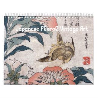 Japanische Vintage mit Blumenkunst Kalender