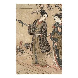 Japanische Vintage Schönheitgeisha-Dame Woman Briefpapier