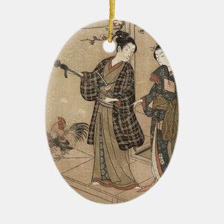 Japanische Vintage Schönheitgeisha-Dame Woman Keramik Ornament