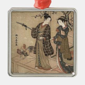 Japanische Vintage Schönheitgeisha-Dame Woman Silbernes Ornament
