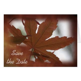 Japanischer Ahorn-Blatt-Hochzeit im Herbst Save Karte