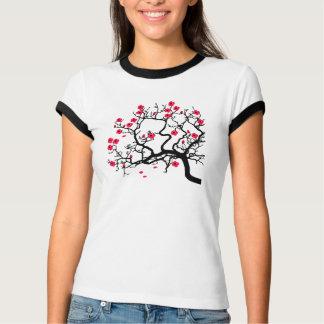 Japanischer Baum rote Blumen T-Shirt