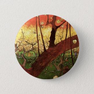 Japanischer blühender Pflaumen-Baum Van Gogh, Runder Button 5,1 Cm