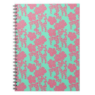 Japanischer Blumendruck-- rosa u. aquamarines Notizblock
