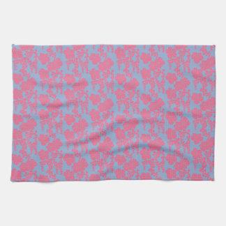Japanischer Blumendruck-rosa u. lila Küchen-Tuch Handtuch