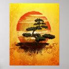 Japanischer Bonsais-Baum-Sonnenuntergang Poster
