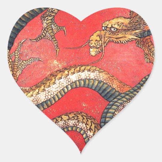 Japanischer Drache Herz-Aufkleber