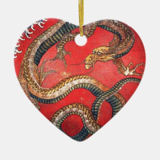 Japanischer Drache Keramik Herz-Ornament