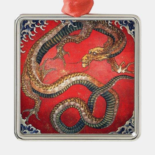 Japanischer Drache Quadratisches Silberfarbenes Ornament