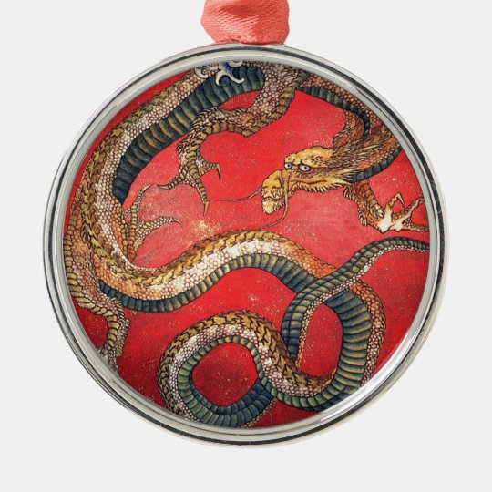 Japanischer Drache Rundes Silberfarbenes Ornament