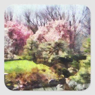 Japanischer Frühling Quadrat-Aufkleber