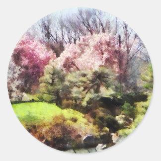 Japanischer Frühling Runder Aufkleber