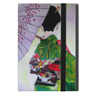 Japanischer Geisha mit Kimono und lila Regenschirm iPad Mini Etui
