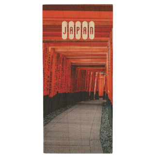Japanischer heller roter shintoistischer Tempel Holz USB Stick