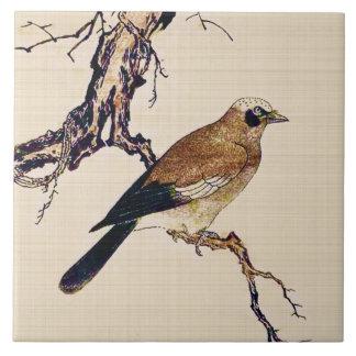 Japanischer Holzschnitt eines Finks, des Browns Keramikfliese