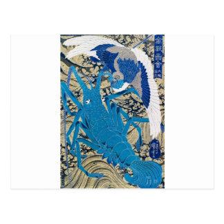 Japanischer Hummer und Vogel, die C. 1800's malt Postkarte