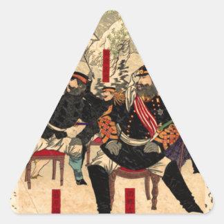 Japanischer Krieg in Kagoshima durch Tsukioka Dreiecks-Aufkleber