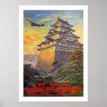 Japanischer Lufttransport mit Tempel Plakatdruck