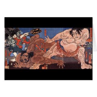 Japanischer Sumo, der C. 1800's malt Karte