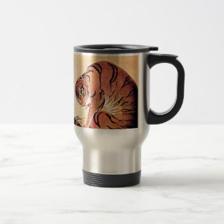 Japanischer Tiger Woodblock Vintage Kunst Ukiyo-E Reisebecher