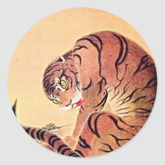 Japanischer Tiger Woodblock Vintage Kunst Ukiyo-E Runder Aufkleber