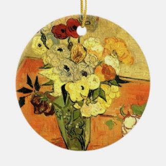 Japanischer Vase Van Gogh mit Rosen und Anemonen Keramik Ornament