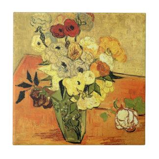 Japanischer Vase Van Gogh mit Rosen und Anemonen Keramikfliese