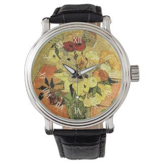 Japanischer Vase Van Gogh mit Rosen und Anemonen Uhr