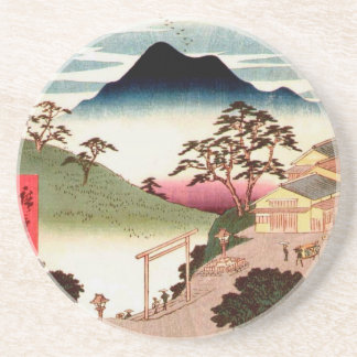 Japanisches Dorf mit Berg Bierdeckel