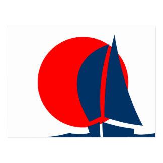 Japanisches Flaggen-Segelboot Japan nautisch Postkarte