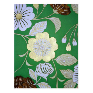 Japanisches KIMONO Gewebe, Blumenmuster Postkarte